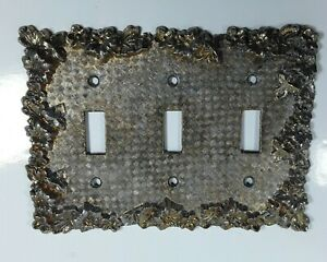 Vintage Metal Light Switch Plate 3 Triple Electrical Outlet Cover Heavy