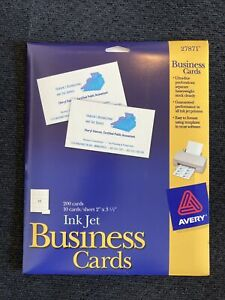 New Avery 27871 Ink Jet Business Cards 200 Cards 2 X 3 1 2 Ultra fine Perf