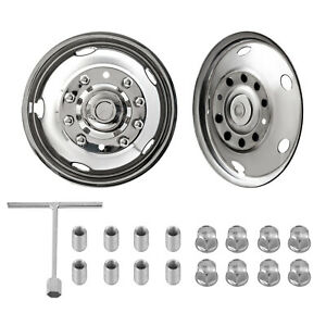 For Ford F450 F550 19 5 05 20 10 Lug Stainless Dually Wheel Simulators Front