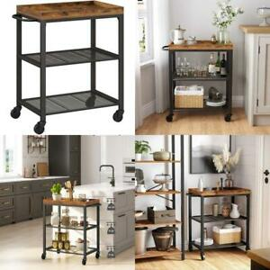 Vasagle Bar Cart Kitchen Serving Cart Universal Casters With Brakes Leveling