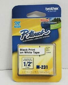 Brother P touch M 231 Tape Labels 1 2 X 26 2 Black Print On White Tape 12mm