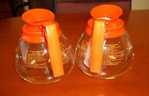 2 Pk 12 Cup Commercial Coffee Pots carafes decanters For Bunn Decaf orange