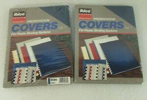 Lot Of 2 Ibico Presentation Covers Plastic Binding Systems Navy Blue Linen 25pk