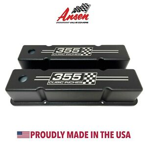 Small Block Chevy Tall Valve Covers Black 355 Cubic Inches Logo Ansen Usa
