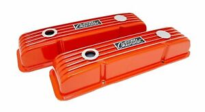 327 Small Block Chevy Orange Classic Valve Covers Custom Engraved Sm Blemishes