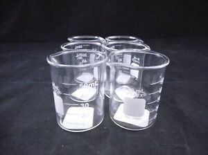 Pyrex Glass 50ml Low Form Griffin Beaker Clear Non graduated 1000 50 6 pack