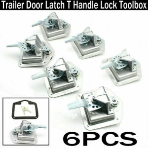 6pc T Handle Lock Tool Box For Truck Trailer Camp Stainless Steel Folding W Keys