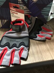 Hyper Tough Fingerless Gloves Reinforced Palm And Knuckle Protection Size L