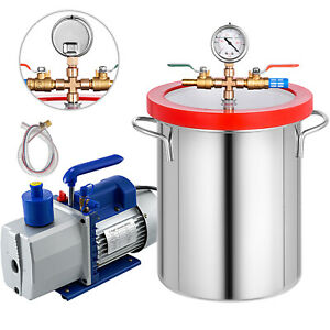 5 Gallon Vacuum Chamber 7cfm Vacuum Pump 2 Stage Air Conditioning Rotary 3 4hp