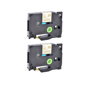 2pk Compatible For Brother Tz234 Tze234 Gold On White Label Tape P touch 1 2