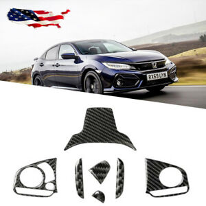 Real Carbon Fiber Cover Steering Wheel Cover Trims Fit For Honda Civic 2016 2020