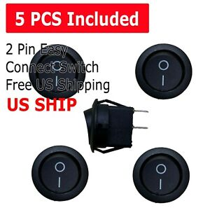 5pcs Round Rocker Switch On off Toggle Round Button Boat Car Auto Switch 12v Us