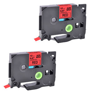 2x Black On Red Tz 431 Tze431 0 47 Label Tape For Brother P touch Gl 100 12mm