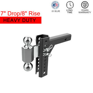 7 Drop 8 Rise Tow Hitch Adjustable Dual Ball Mount 2 2 5 16 Solid Receiver
