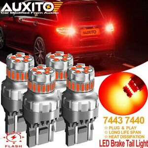 Auxito 7443 7440 7444 Red Led Bright Strobe Flash Brake Tail Light Parking Bulbs