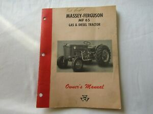 1963 Massey Ferguson Mf65 Mf 65 Gas And Diesel Tractor Operator s Owner s Manual