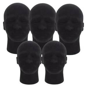 5pcs 11 Black Male Foam Mannequin Head Model Stand For Hat Wig Glasses Display