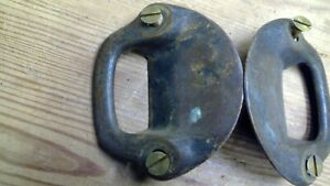 Unusual Pair Antique Vintage Brass Trunk Box Handles Ornate Solid Patina