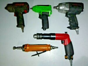 Lot Of 5 Air Tools Impact Wrench Drill Atlas Copco Snap On Etc For Repair