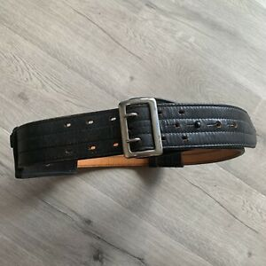 Don Hume Leather Basket Weave Duty Belt W silver Buckle Size 34 Plus Ammo Holder