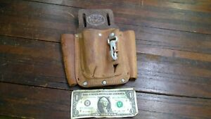 Bashlin 111 hs Lineman electrician Leather 3 Pocket Tool Pouch