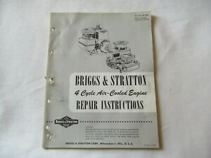 Briggs Stratton 4 cycle Air Cooled Engine Repair Service Instruction Manual