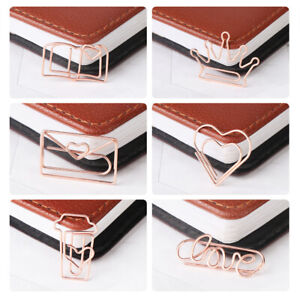 School Crown Love Coffee Cup Letter Cute Bookmark Paper Clips Holder Clamps