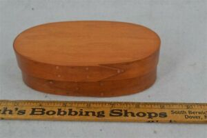 Oval Pantry Box Bent Wood Lapped Hand Made Small 6 5 X 2 In Natural Replica