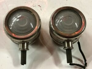 Pair Vintage Glass Cowl Lamp Lights Glass Lens Early Old Auto Automobile Car