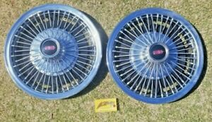 1967 Oldsmobile 14 Wire Wheel Covers Hub Caps Hubcaps Set Of 2