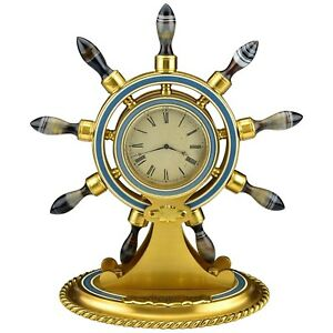 Ships Wheel Clock With Carved Agate Bronze Enamel Alexander Company