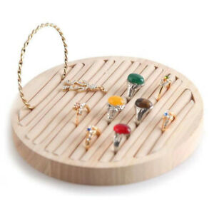 Wooden Flat Round Ring Display Tray For Countertop Retail Beige Velvet