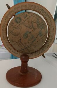 Small Vintage Astrological Wooden Globe With Wooden Base