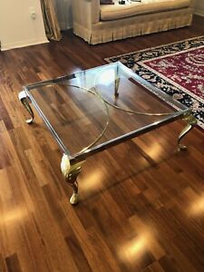 Brass And Glass Coffee Table 40 X40 X15