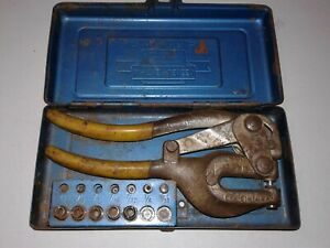 Vintage Roper Whitney No 5 Jr Hand Punch With Case And Bits Made In Usa