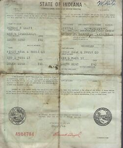 1960 Imperial 2 Door Hardtop Chrysler Indiana Title Signed Historical Document