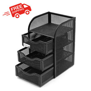 Small Mesh Desk Organizer Supply Caddy 3 Drawers For Accessories Mesh Design New