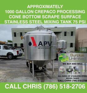 Approx 1000 Gallon Crepaco Processing Cone Bottom Scrape Surface Ss Mixing Tank