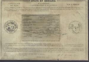 1940 Packard 110 1800 Touring Sedan Indiana Title Historical Document