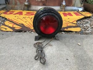 Vintage 12v Double Sided Flashing Red Warning Caution Light Wrecker Police Truck