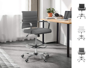 Drafting Chair Stool Office Ergonomic Footrest Leather Tall Arms Footrest Heig