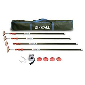 Zipwall Steel Spring Loaded Poles 4 heads 4 plates 4 tethers 4 grip Disks