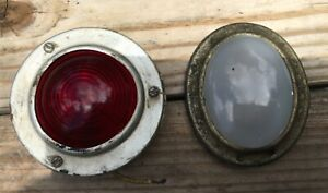 Vintage Red And White Glass Tail Light Lens Stop Lamp Cover Car Truck