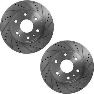 Disc Brake Rotor For 2002 2010 Ford Explorer Rear Cross Drilled Slotted Set Of 2