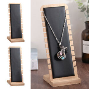 2 Black Necklace Display Stand Chain Holder Organizer Rack Leather Surface