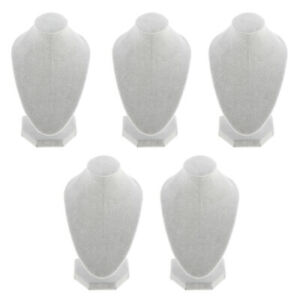 Pack Of 5 White Velvet Necklace Bust Display Jewelry Figure Stand Holder