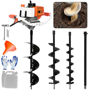 52cc Earth Auger 2 cycle Gas Powered One Man Post Hole Digger Machine 3 Drills