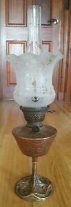 Art Nouveau Oil Lamp Signed G Leleu With Shade And Chimney