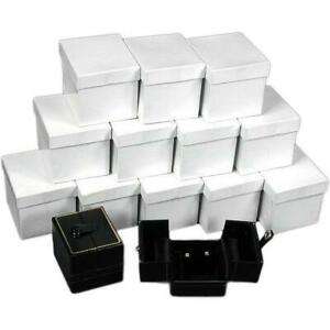 12 Black Earring Gift Boxes W snap Lids 2