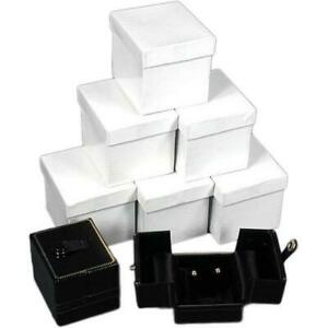 6 Black Earring Gift Boxes W snap Lids 2